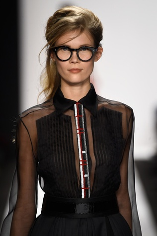 Naughty school girl look from Carmen Marc Valvo fall 2015 collection