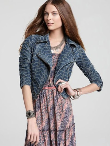 singer22 Free People Punched Moto Jacket in Chevy Blue