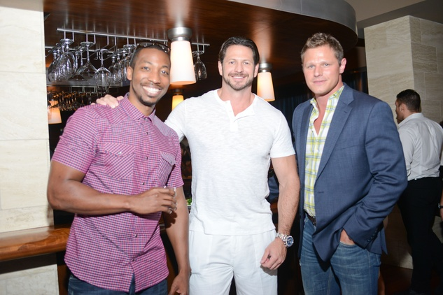 125 Stephen Shorter, from left, Bryan Langen and Jaren Glass at the White Hot Summer Night Party at Eddie V's August 2014