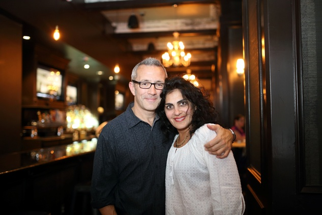Jon Severson and Apama Mackey at the Springbok restaurant kick-off party July 2014