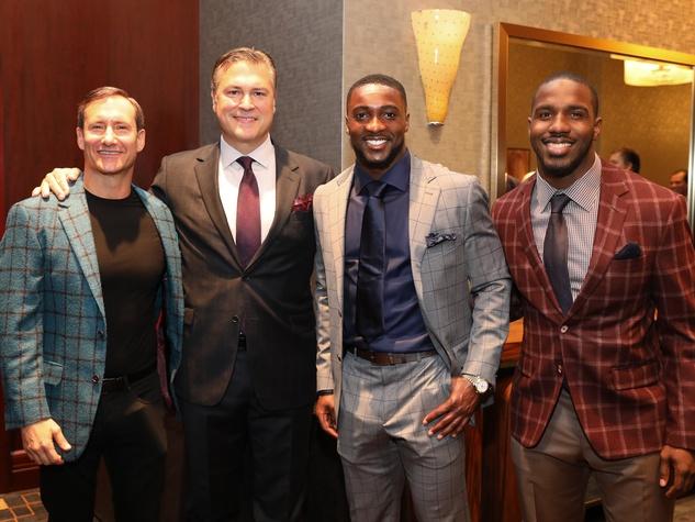 Dean Putterman, Michael Bertuccio, and Houston Texans Andre Hal and Lamar Miller at Festari Gala
