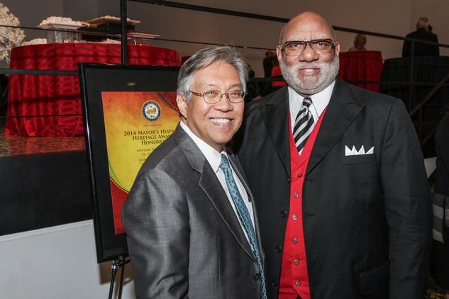 Gordon Quan, left, and Manson Johnson at the Mayor's Hispanic Heritage Awards event October 2014