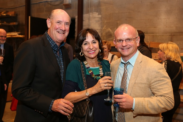 News, Shelby, Alley Theatre opening night dinner, August 2014, Ken and Mady Kades with Director Michael Wilson