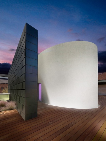 James Turrell rooftop Skyspace University of Texas at Austin at night