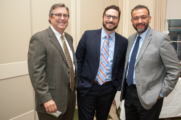 6 Scott Wilkinson, from left, Jason Tramonte and Arturo Chavez at the Urban Land Institute Houston mixer October 2014.