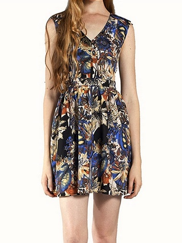 accents Floral Print Side Cut Out Dress