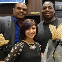 10a Chester Pitts, from left, Annie Rupani, Antoine Caldwell and Brandon Brooks at the Cacao & Cardamom party November 2014