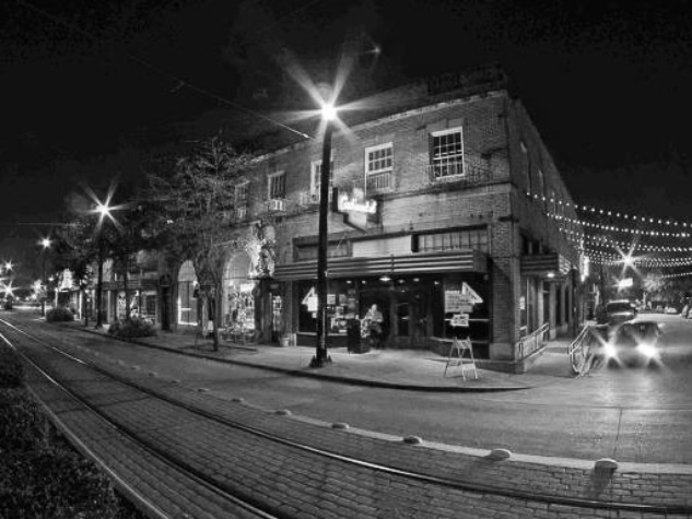 The Continental Club Houston black-and-white at night RUN FLAT