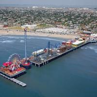 Galveston Island Historic Pleasure Pier aerial view toward inland