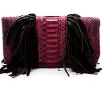 Heather, Presmer, burgundy color trend, September 2012, python and suede fringe clutch, $365