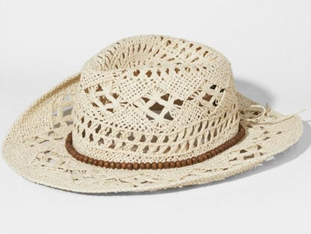 Crocheted beaded band cowboy hat at Express