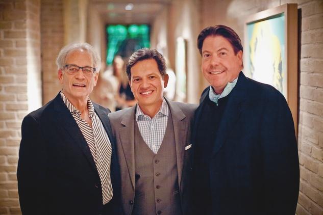 34 Mickey Rosmarin, from left, Christophe Brucker and John Evatz at the Pam & Gela party November 2014