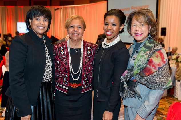 News, Shelby, Red Cross Luncheon, Feb. 2015, Eileen Lawal, Yvonne Cormier, Claire Cormier Thielke, Merele Yarborough