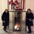 Cherri Carbonara Baccarat factory tour April 2015 The Philippe Starck fireplace made us stop.  Cherri Carbonara (l) and Regina Garcia (r)