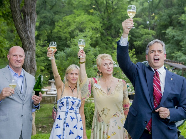 Umlauf Sculpture Garden and Museum Garden Party 2016 champagne toast Jon Gerber Leah Lee Nina Seely Mayor Steve Adler