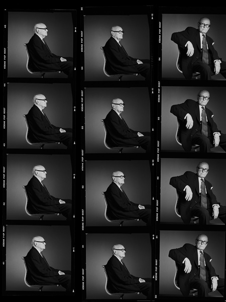 News_Greg Gorman_Philip Johnson_contact sheet