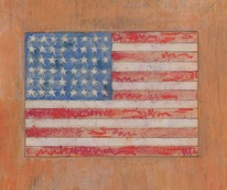 Jasper Johns, Flag on an Orange Field drawing