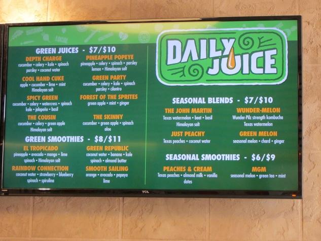 daily juice seasonal green menu