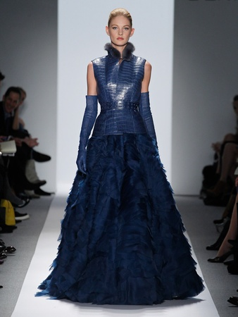 Fashion Week fall 2013, Dennis Basso, February 2013, blue gown with cropped vest