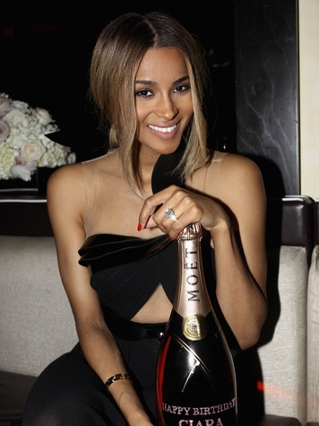 Ciara with personalized Moet Rose bottle October 2013