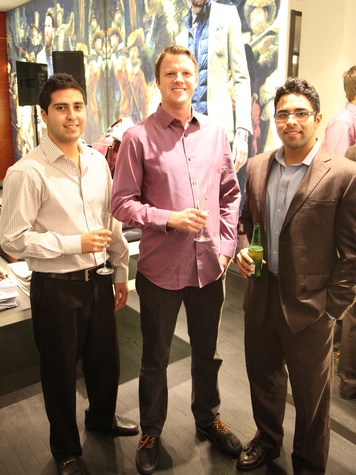 Aaron Garza, from left, Billy Bettingen and Atta Shay at the Suitsupply Houston grand opening party December 2013