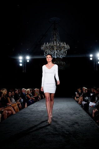 Model on the runway at the Jonathan Blake fashion show October 2014