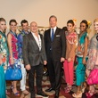 Carmen Marc Valvo, left, and Bobby Dees with models at the Nutcracker Market Saks luncheon and fashion show November 2014