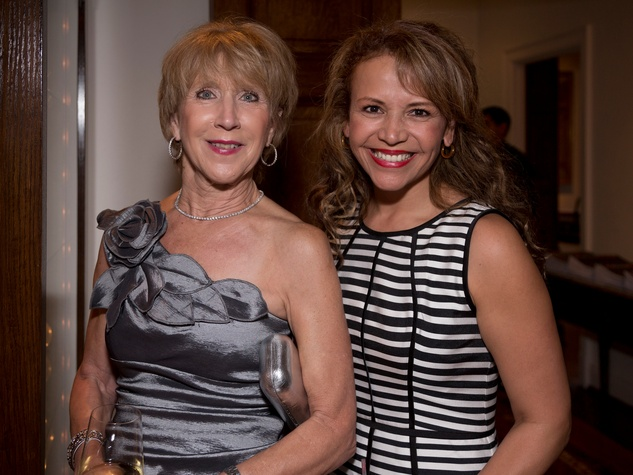 Linda Wilson, left, and Clamencia Larimore at Ballroom Marfa summer cocktail party July 2014