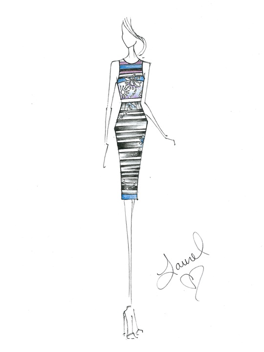 Fashion Week spring 2015 sketch Sept. 2014 Laurel Berman Black Halo