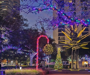 Mistletoe ball at Houston's Market Square Park