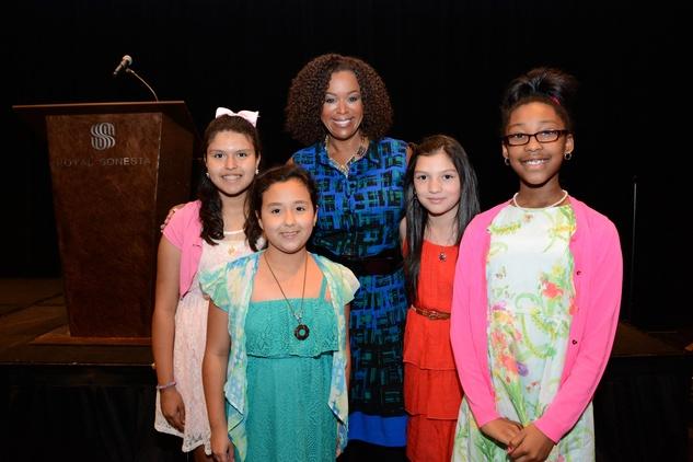 5629 Daniela Delgado, from left, Lizbeth Valdez, Deborah Duncan, Jimena Martinez and Alexis Amerson at the Girls Inc. luncheon May 2014