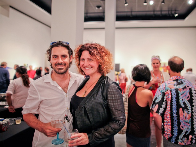 Lawndale Art Center The Big Show VIP reception July 2013 Matthew Wettergreen and Claudia Solis