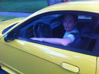 Teen driver in his Mustang