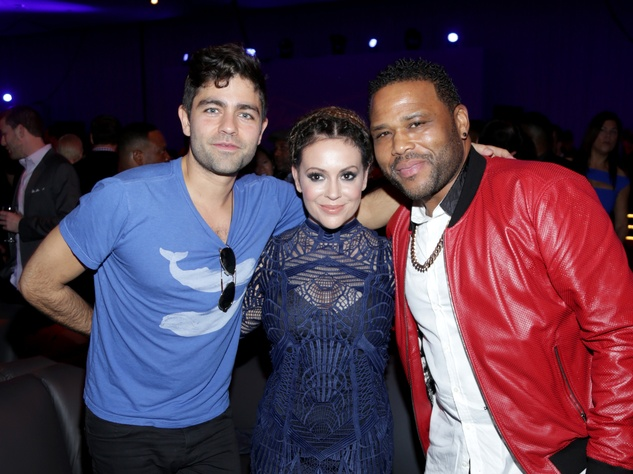 Houston, Rolling Stone Super Bowl party, Jan 2017, Adrian Grenier, Alyssa Milano, Anthony Anderson