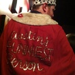 Mac Blake in crown and robe as Funniest Person in Austin 2013 winner