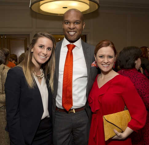17 Katherine Armstrong, from left, Travis Torrence and Amanda Watson Johansen at Bo's Place luncheon February 2015