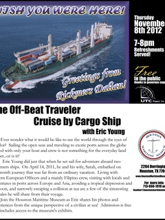 """Lecture: """"The Off-Beat Traveler: Cruise by Cargo Ship with Eric Young"""""""