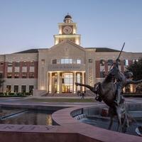 Sugar Land City Hall, fountain, statue, at night