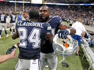 Morris Claiborne and Bruce Carter of the Dallas Cowboys