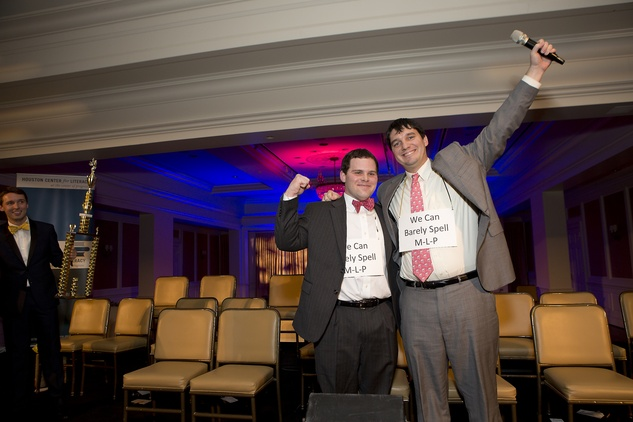 828 Joe Herman, left, and Boran Buturovic at the Great Grown-Up Spelling Bee January 2015