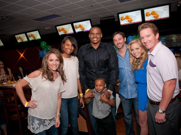 "Chester Pitts bowling party, June 2012, Joanna Hartland, LaToya Hutchins, Chester Pitts II, Chester ""Champ"" Pitts III, Brad Marks. Bria Warren, Blake Warren"