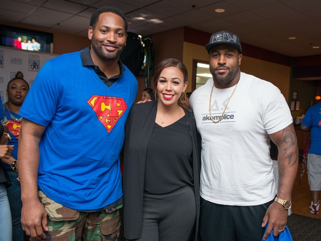 Chester Pitts bowling event Robert Horry, Devi Dev, Duane Brown