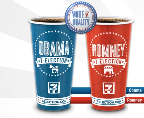 Obama and Romney coffee cups
