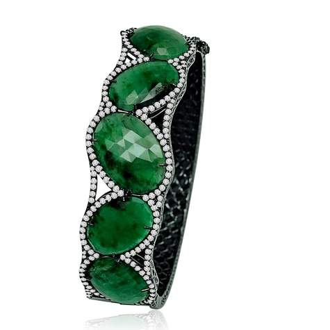 Sutra emerald and diamond bracelet