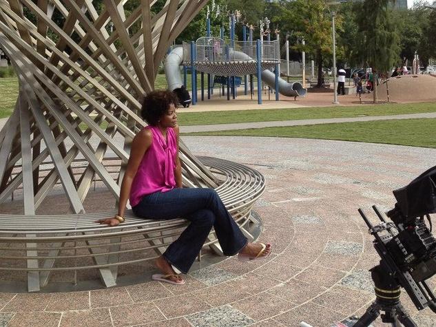Swoopes with Sheryl Swoops at Discovery Green in Houston
