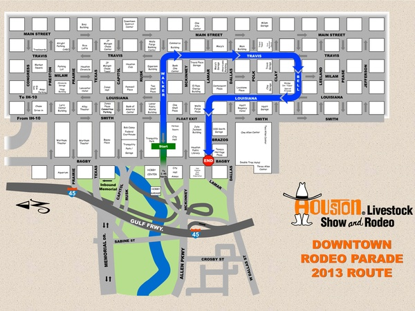 Houston Livestock Show and Rodeo, rodeo parade, REVISED ROUTE, February 2013