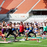 yogaOne Studios and Houston Dash present Yoga on the Pitch