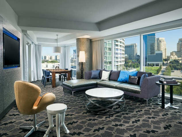 wow terrace suite living room, w hotel, renovation