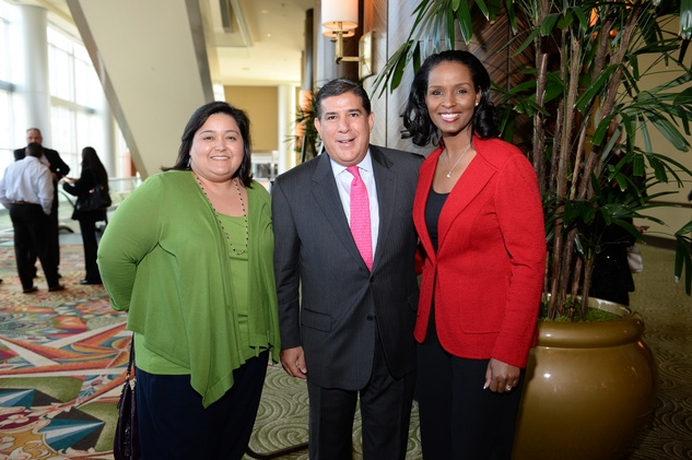 Erlinda Quintanilla, from left, John Hernandez and Winell Herron at the El Centro de Corazon luncheon March 2015