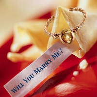 proposal, diamond ring, fortune cookie